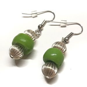 Green dangle earrings beaded earrings Handmade